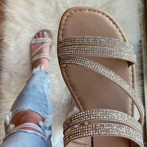Square Toe Rhinestone Criss Cross Strap Sandals
